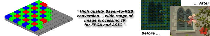Bayer-to-RGB converter IP Core from Zipcores